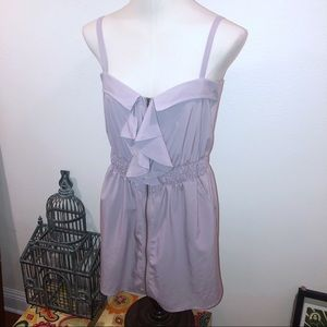 XTAREN LAVENDER RUFFLE FRONT ZIP UP CAMI DRESS L